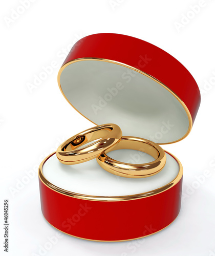 Red 3d casket with two wedding rings