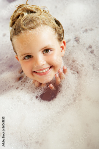 Girl Playing In Bath