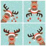 Fototapety 4 Reindeers Christmas Balls Winter Forest Snowfall Retro