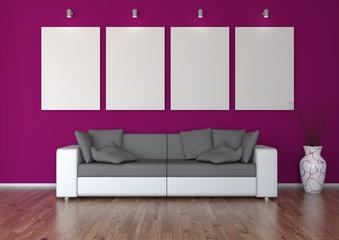 Sofa vor weinroter Galeriewand mit Vase