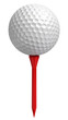 golf ball on red tee on white background