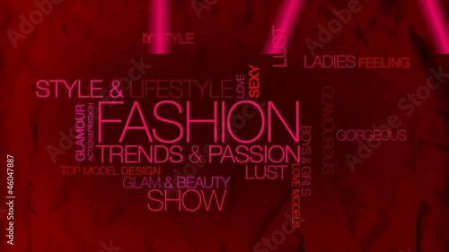 Fashion shopping red pink background words tag cloud animation