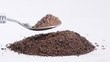 Raw cocoa powder on a spoon