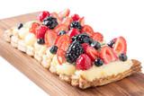 Berry pie and custard