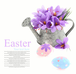 Easter eggs and saffron flowers in a watering can