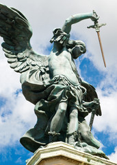 Saint Michael statue at top of Castel Sant'Angelo, Rome