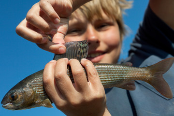 Boy caught grayling