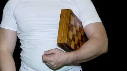 Chess player with a chess board