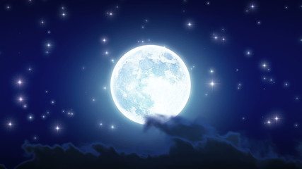 Beautiful Moon Shine with Stars and Clouds. Looped animation.