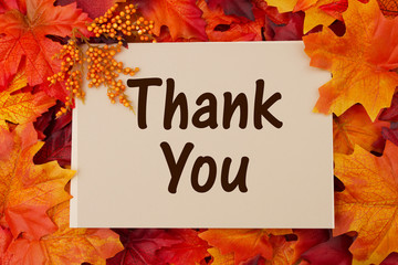 Thank You card with fall leaves