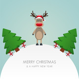 reindeer hat christmas tree and gift world