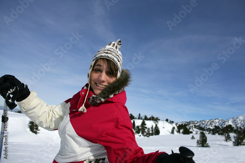 Woman having fun skiing