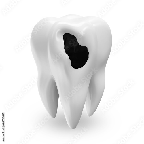Illness Tooth isolated on white background