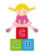 Niña jugando y aprendiendo el abecedario