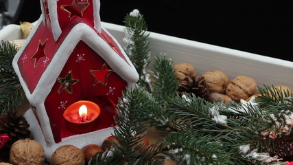 Holiday scene with candle