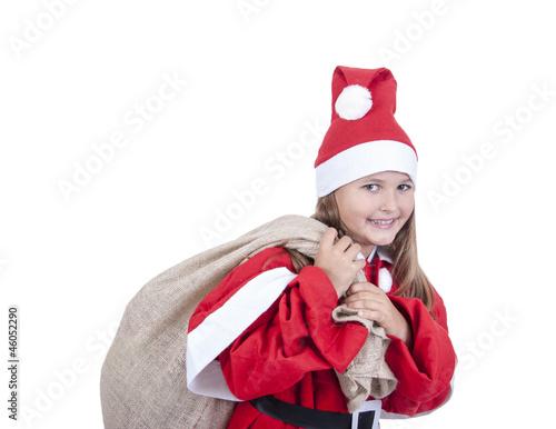 Mädchen mit Weihnachtsmannkostüm