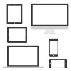 Computer tablet laptop phone logo isolation vector eps10