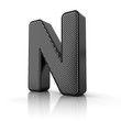 Letter N as a perforated metal object over white