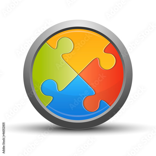 Puzzle button, colorful concept