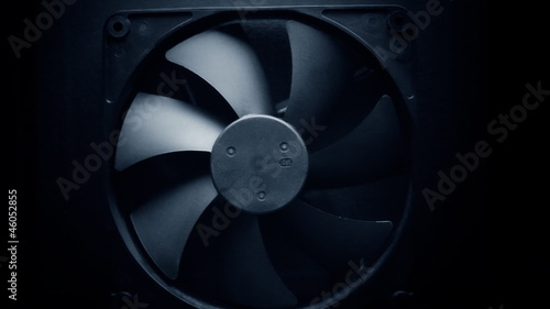 Fan turbine behind a dark surface