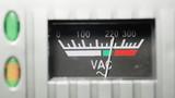 Vintage analog volt meter close up poster