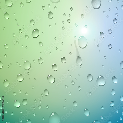 Water drops on glass. Vector illustration.