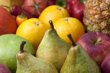 Fruits  colorful mixed assortment pears closeup