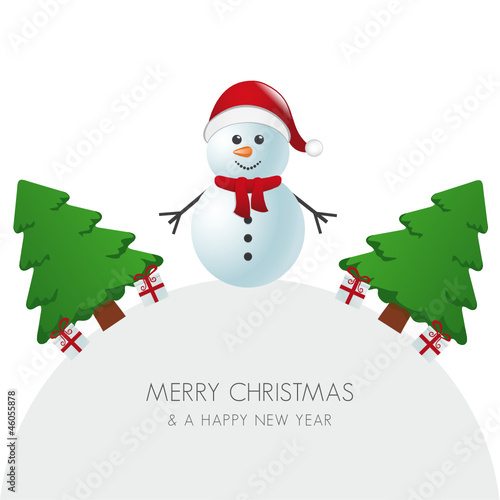 snowman hat christmas tree and gift world