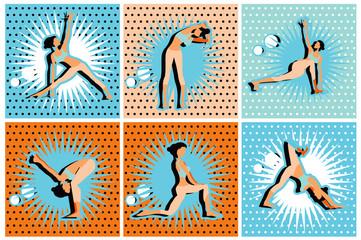Pop Art Comic yoga, pilates big set of vector symbols