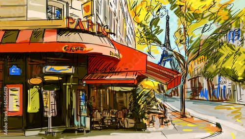 Foto op Canvas Geschilderd Parijs Street in paris - illustration