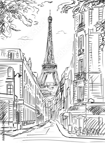 Tuinposter Geschilderd Parijs Street in paris - illustration