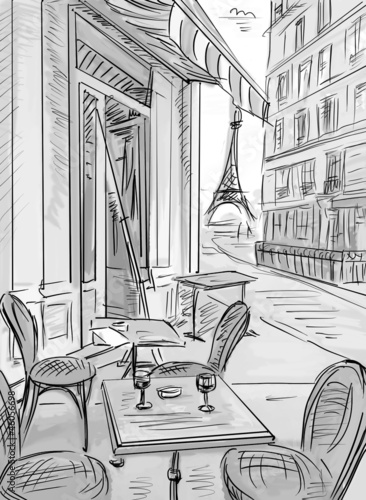 Fotobehang Getrokken Parijs Street in paris -sketch illustration