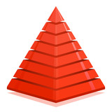 Red pyramid design element isolated on white