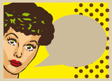 Vintage Retro Clip Art Woman Advertisement Pop Art Girl Talking