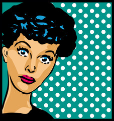 Who is it? retro woman face vintage clipart with dot background