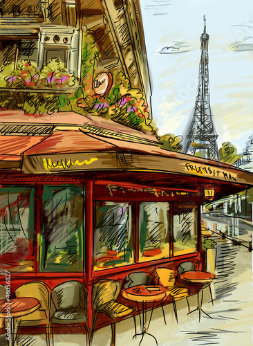 Wall mural Paris street - illustration