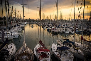 Yachts and boats in harbour on sunset