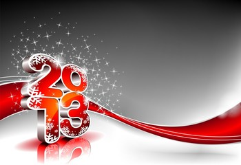 Vector Happy New Year design with shiny 2013 text.