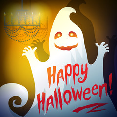 "Illustration of a ghost ""Happy Halloween"""