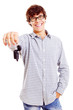 Young man with car keys