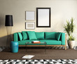 Contemporary elegant green sofa, fresh moroccan living room