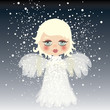 Adorable little angel on the sky / Snow background
