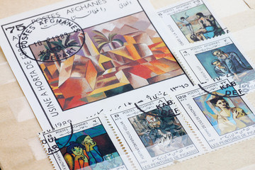 set of post stamps with paintings by Picasso