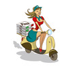 Pizza. Woman. Scooter
