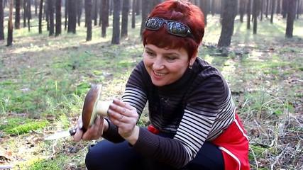 Woman had cut the mushroom