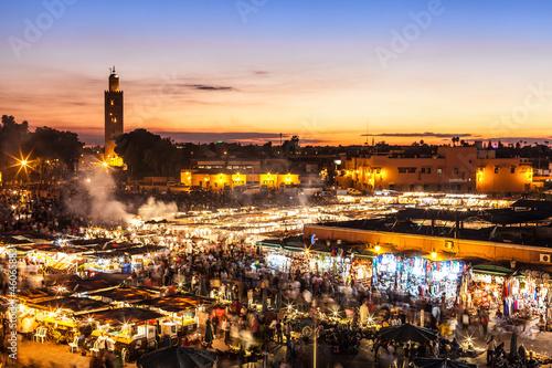 Foto op Aluminium Marokko Marrakesch, Djemaa el Fna, Marokko