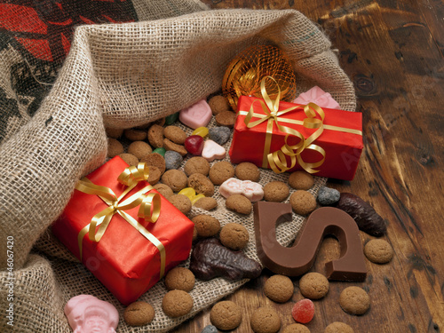Saint Nicholas bag with gifts and candy