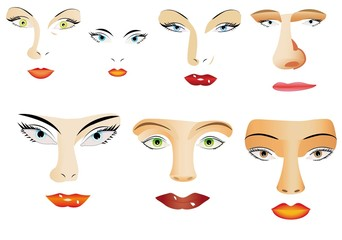 Set of different eyes, lips, noses on white background.
