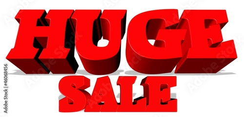 huge sale sign over white in 3d