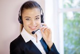 Attractive professional woman with headset